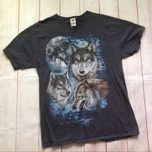 Vintage 90s Wolf Print Graphic Tee Shirt T-Shirt